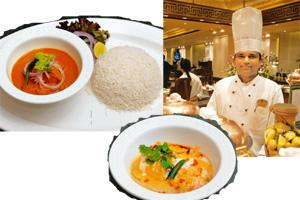Mixed platter: (clockwise from above) Chef Noronha wants vegetarians to experience the food of his state; Caldinho-de-galhina, a traditional chicken dish; and fish curry with rice. Abhijit Bhatlekar /