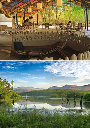 Light step: (from top) The dining tent at Shaam-e-Sarhad; and the Periyar at Thekkady. Photographs : Ramki Sreenivasan