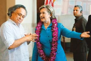 On a positive note: US Secretary of State Hillary Clinton with Jairam Ramesh, minister of state for environment and forests, at the ITC Green Centre in Gurgaon. The US wants India to agree to limit it