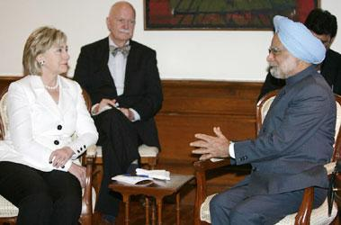 Prime Minister Manmohan Singh speaks with US secretary of state Hillary Clinton during a meeting at the Prime Minister's office in New Delhi on Monday. Reuters Photo