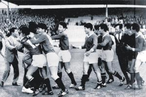 Red Mosquitoes: The legendary North Korean team of 1966 after its upset win over Italy. AFP