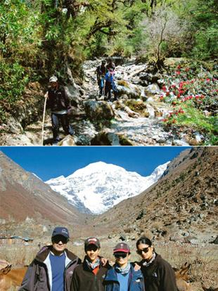 High points: (top) Walking past rhododendrons on the first day of the trek; (left to right) Ramesh, Rishab, Swati and Shunori at the Jangothang campsite, at the foot of the Chomolhari. Photographs Cou
