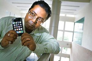 Utility app: Rapidsoft Technologies' Palak Biswas with an iPhone. Madhu Kapparath / Mint