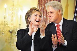 Power couple: For duos like the Clintons, spousal competition can get real tough. Jonathan Ernst / Reuters