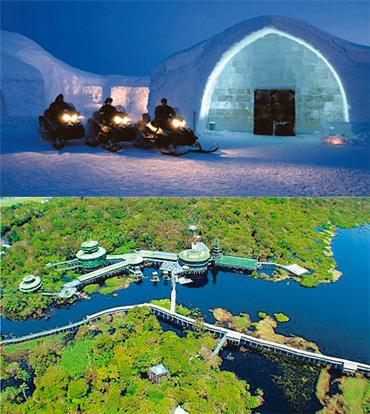 In-house fun: (top) An igloo at Icehotel; (bottom) a bird's-eye view of Aria Towers, Amazon.