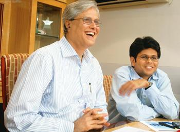 Bullish on India: A file photo of JM Financial's Nimesh Kampani (left) and son Vishal. Focus on the India domestic story is how Vishal Kampani sums up his father's views on the path for corporate gro