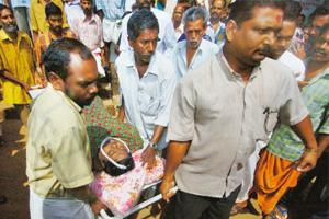 Spreading fast: A chickungunya victim being taken to hospital in Kerala in 2006. This year the disease is moving to new areas with rising severity. AP