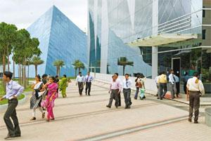 Wider focus: The Infosys campus in Bangalore. Companies such as Infosys, Tata Consultancy Services and Wipro have been expanding into new markets to reduce their dependence on the US. Madhu Kapparath