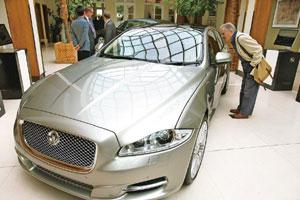 Bailout avoided: A file photo of a Jaguar XJ saloon car on display at the Salon Privé luxury supercar show in London. Tata Motors said in its annual report that sales of Jaguar fell 20% between Octobe