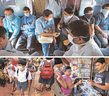 Mumbai mood: Disposable masks were spotted across the city--(clockwise from top) in local trains, at drug stores and outside schools. Abhijit Bhatlekar / Mint
