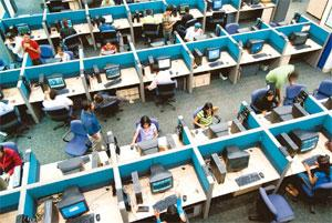 Changing focus: A file photo of a Convergys office. Indian IT firms can get more opportunities in the market if they rely less on low labour costs. Madhu Kapparath / Mint