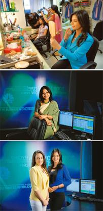 Camera friendly: (from top) Faridi puts finishing touches to her make-up before going on air; Venkatesh's revamp includes colourful saris; Shenoy (left) and Faridi in their new bright jackets. Abhijit