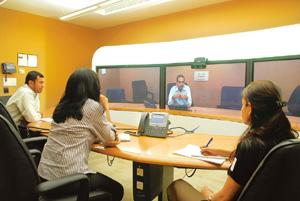 Making your presence felt: A telepresence system at Cisco's Bangalore office. The firm leads in market share. Hemant Mishra / Mint