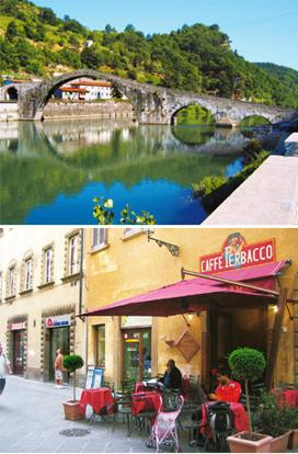 Idyllic pleasures: (top) A bridge from the Middle Ages in Tuscany; a cafe on Via Guarnacci. Photograph: Arjun Rajappa