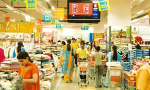 A dampener: A Big Bazaar store in the New Delhi suburb of Noida. The report shows that while the crisis has not necessarily affected incomes, Indian consumers are spending less, driven by a decline i