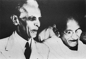 Fathers of nations: Jinnah and Gandhi were often at odds. AFP