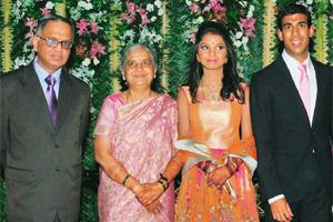 Simple affair: The Murthys at the wedding reception of their daughter Akshata. PTI