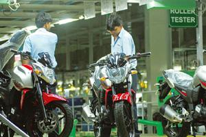On the fast track: The Yamaha bike plant at Greater Noida, Uttar Pradesh. Bikes such as the Fazer and the FZ-S have helped the firm to grow the fastest among two-wheeler makers in the country this fis