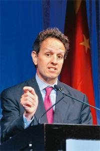 Won't relent: US treasury secretary Tim Geithner. The US and Britain will likely oppose strong proposals such as capping and taxing bonuses. Jay Mallin / Bloomberg