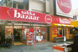 Difficult times: A Sabka Bazaar store. These days empty racks greet customers at the outlets of the grocery chain, making it the latest casualty of the downturn that has hurt retailers hard. Vipin Kum