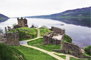 Lake eerie: Urquhart Castle, on the northern shore of the famous Loch Ness.