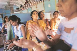Safe ride: Women aboard the Ladies Special train connecting Palwal to New Delhi. In a pilot project, the government has introduced these trains in the wake of eve teasing that women face while commuti