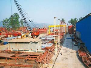 Bidding war: A Bharati Shipyard facility in Thane. The firm has bought 1.11 million shares of Great Offshore for Rs62.4 crore.