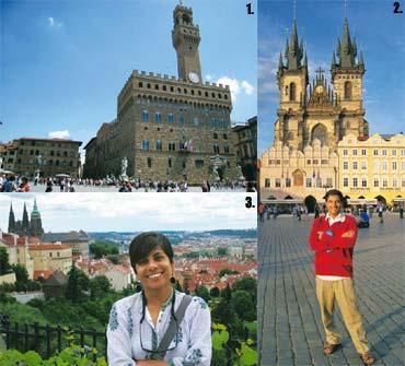 History lessons: 1. The Uffizi district in Florence; 2. Patil at the Tyn Church in Prague; and 3. Khaire in Prague, with the palace in the background. Samir Patil