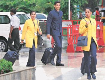 One voice: file photo of Jet Airways crew members. Existing unions in the civil aviation industry are in talks for a larger national union.Shirish Shete/PTI