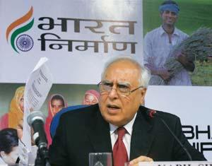 Pay structure: Minister for human resource development Kapil Sibal. Subhav Shukla / PTI