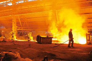 Burning hot: A Tata Iron and Steel foundry in Jamshedpur. Global steel offtake slumped by more than a tenth in the past year, but India's 55 mt steel market has seen demand grow by nearly 10%. Santosh