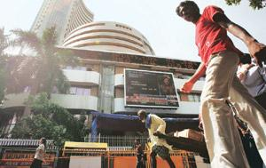 Upward swing: The BSE Sensex on Wednesday topped the 17,000-mark for the first time in 16 months. Punit Paranjpe/Reuters