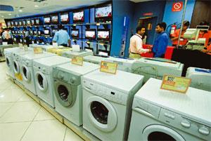 Low demand: Consumer durables displayed in a Gurgaon mall. The study revealed that the bounce in the economy is probably fuelled by the government's stimulus packages rather than consumer spending. Ha