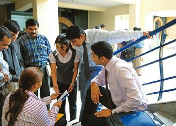 Honing skills: Students at the MATS Institute of Management and Entrepreneurship, Bangalore. Interns from institutes such as this helped State Bank of India collect data from 19,000 small and medium b
