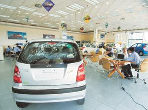 Power ride: A Hyundai showroom in New Delhi. The car manufacturer reported a robust growth of 25% in the Indian market in September. Ramesh Pathania/Mint