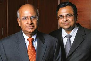 Change of guard: Outgoing TCS chief executive and managing director S. Ramadorai and his successor N. Chandrasekaran. Ramadorai has been at the helm of this company for 13 years. Abhijit Bhatlekar / M