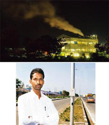 Danger in the air: (top) A factory belches smoke in Ankleshwar; (above) Manoj Verma was one of about 600 contract workers at a Lupin Ltd plant who demanded to be put on a par with full-time employees.