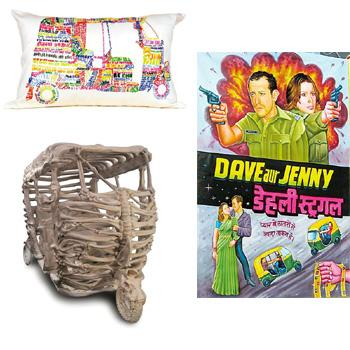 Three-wheel inspiration: (clockwise from top left) Autorickshaw pillow case from Play Clan, New Delhi; a customized Bollywood poster featuring tourists Dave and Jenny; and artist Jitish Kallat's sculp