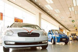 Paying in cash: A Hyundai showroom in Delhi. Financiers say cash purchases will steadily decline with state-owned banks pushing their products and private banks showing renewed willingness to lend. Ra