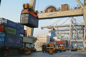 Slowdown impact: The Jawaharlal Nehru Port in Navi Mumbai handled 1.99 million standard containers in the first six months of the current fiscal year, against 2.12 million standard containers a year a