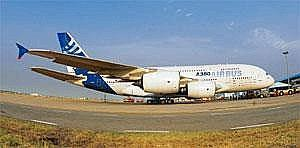 Cutting costs: An Airbus A380 plane at the Indira Gandhi International Airport in New Delhi. Airbus has asked its top suppliers such as aero engine maker Snecma to move work to India to drive down cos