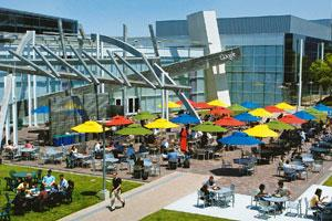 Mega-scale problems: The main courtyard of Google headquarters, California. By donating computing wares to universities, Google and IBM hope to train engineers and scientists to think in Internet scal