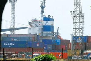 Piling up: Containers stacked at Kolkata port last week. Some 5,900 standard import containers and about 2,000 standard export containers are lying at the port waiting to be cleared. Indranil Bhoumik