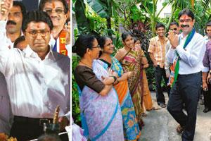 Mission Maharashtra: (left) MNS chief Raj Thackeray brandishes a sword at an election rally in Mumbai on Friday (Santosh Hirlekar/PTI); MNS candidate from Sewri, Mumbai, Bala Nandgaonkar meets women f