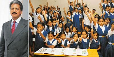 (Left) Anand Mahindra. (Right) Nanhi Kali students at GSM, Kulsumpura, a primary school in Hyderabad. Bharath Sai/Mint
