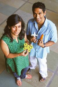 Colourful jab: Samarth Mungali (left) and Bhavna Bahri's toy-like cases for syringes are targeted at children. Amit Dave / Mint