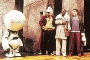 Don't panic: (from extreme left) Marvin, the Paranoid Android, Zaphod, Ford and protagonist Arthur Dent. AFP