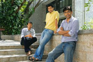 Thinking different: (from left) IIM-B students Shekhar Gurav, Amarendra Sahu and Mainak Chakraborty. Most college incubators also encourage outsiders to seek on-campus support. Hemant Mishra / Mint