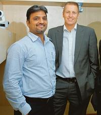 New market: Axis' India country manager Prakash Prabhu (left) and Axis president and chief executive Ray Mauritsson. Axis is currently deploying a city surveillance project in Kolkata. Hemant Mishra /