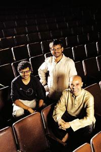 Shape shifters: (from left) Umesh Kulkarni, Girish Kulkarni and Paresh Mokashi at Pune's Prabhat theatre.